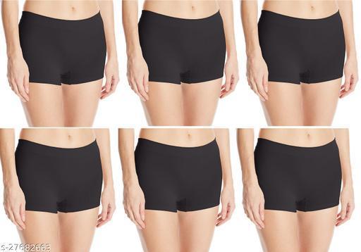 Women Boy Shorts Black Cotton Panty (Pack of 6)