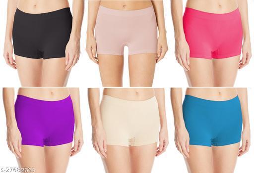 Women Boy Shorts Multicolor Cotton Panty (Pack of 6)