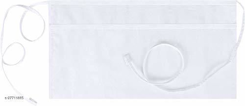 M I Fashions Waist Apron with 3 Pockets - Cotton Half Apron for Serving Restaurants Bar Bistro Cafe (Pack of 2) White