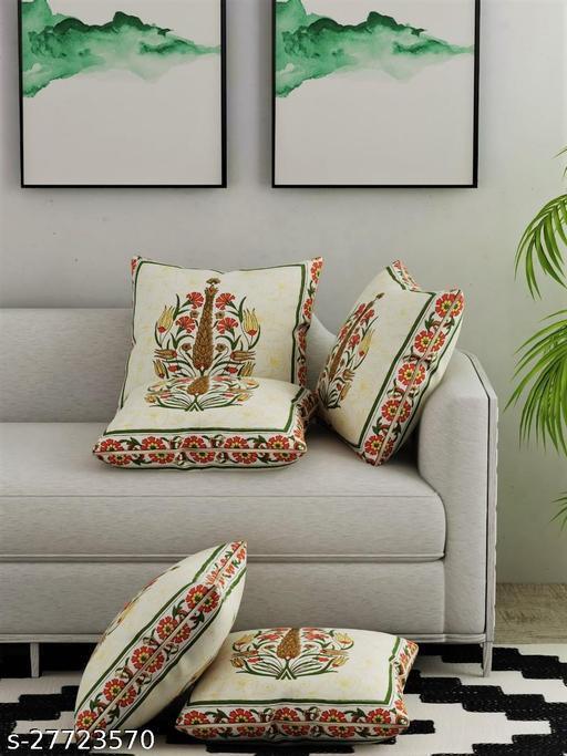 Salona Bichona 100% Cotton Jaipuri Printed Cushion Covers (Pack of 5) (Yellow)