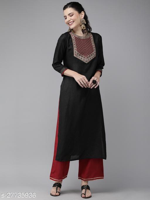 Indo Era Black Solid Straight Kurtis Maha Price Drop Sale