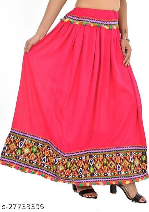 Women Ethnic Embroidered Border Rayon Long Skirt Lehenga(Pink)