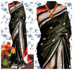 Mayurani Cotton Silk Paithani Saree With Contrast Blouse Piece (Black & Silver)