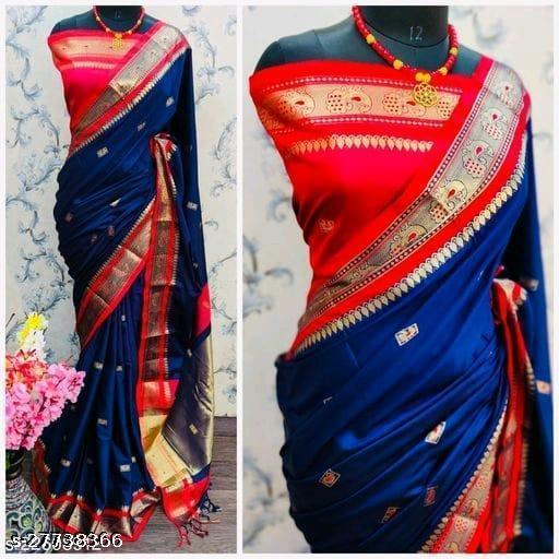 Mayurani Cotton Silk Paithani Saree With Contrast Blouse Piece (Navy & Red)