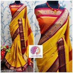 Mayurani Cotton Silk Paithani Saree With Contrast Blouse Piece (Mango & Brown)