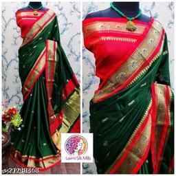 Mayurani Cotton Silk Paithani Saree With Contrast Blouse Piece (Green & Red)