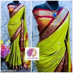Mayurani Cotton Silk Paithani Saree With Contrast Blouse Piece (Lemon & Brown)