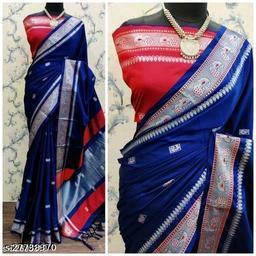 Mayurani Cotton Silk Paithani Saree With Contrast Blouse Piece (Navy & Silver)
