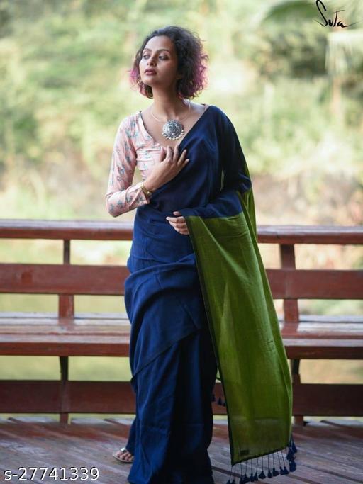 Handloom Khadi cotton soft saree With blouse pcs