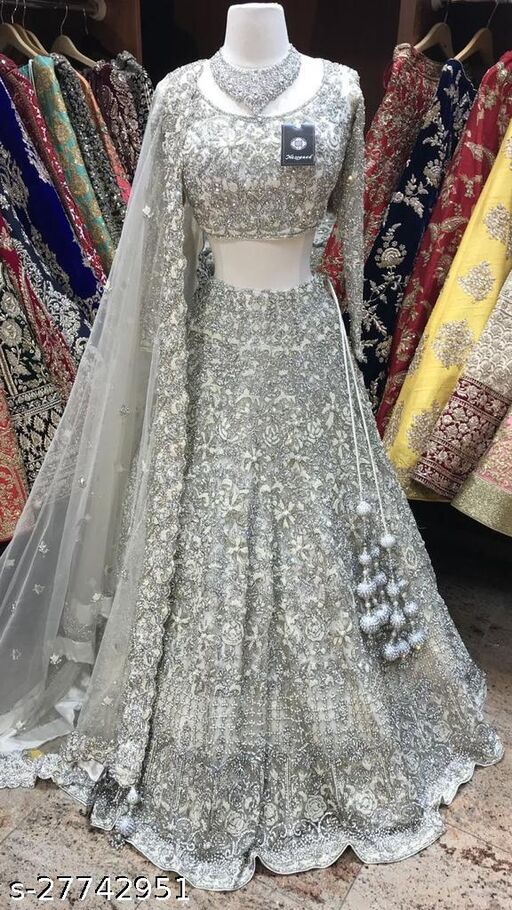 NET WITH EMBROIDERY DESIGN WORK WITH DIAMOND STONE WORK WOMANS BEST LEHENGA