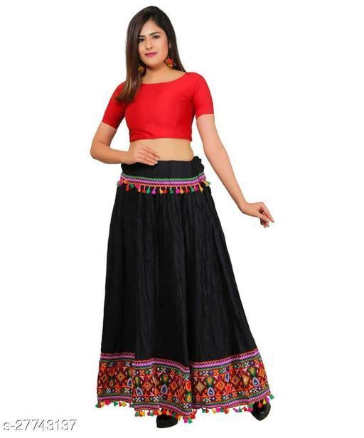 Women Ethnic Embroidered Border Rayon Long Skirt Lehenga(Black)