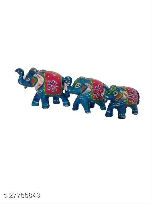 Handmade Elephant Set of 3 Showpiece for Home Decoration II Great Gifting II Bedroom Decoration