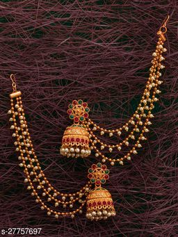 Asthetic Traditional Chain Linked Bahubali Temple Earrings for Women and Girls