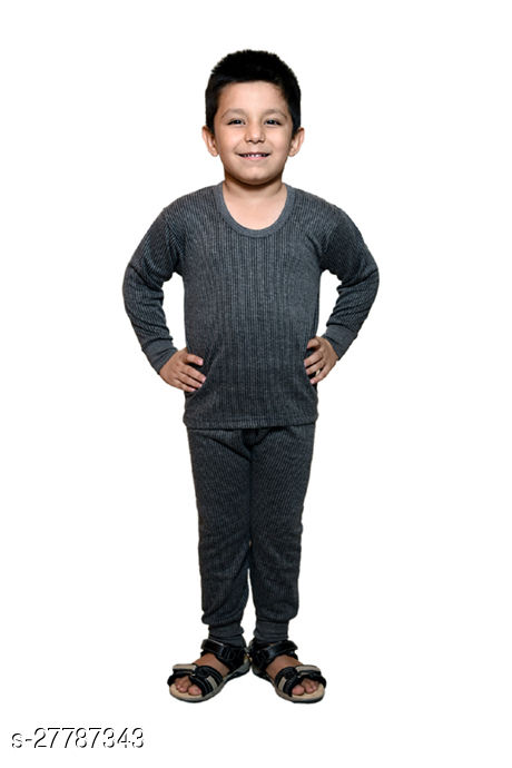 BODYSENSE  Dark Grey Thermal Top & Pyjama Set for Boys & Girls ( Pack of 1 Set )