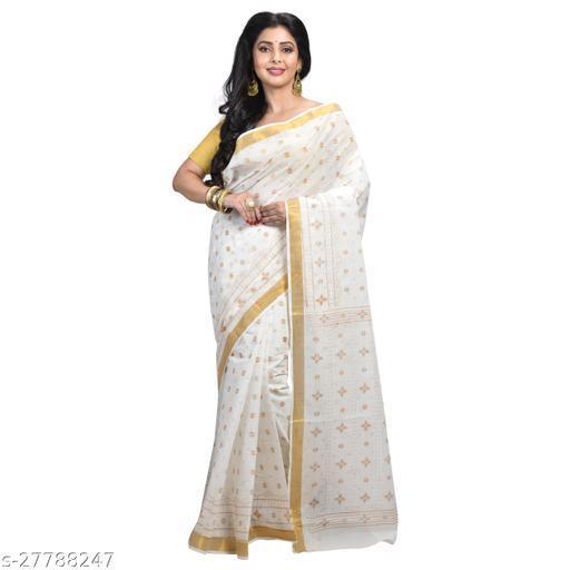 Women's Bengali  Pure Cotton Handloom Tant Print Saree  ( White   Without Blouse)