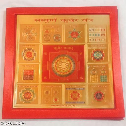 KESAR ZEMS Sampurna Kuber Yantra on Foil Paper with Red Velvet Box.(23 x 23 x 0.1 cm)Golden