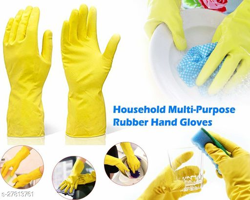 willanzy Flock line Reusable Rubber Hand Gloves (Yellow 2 tone) - 1pair
