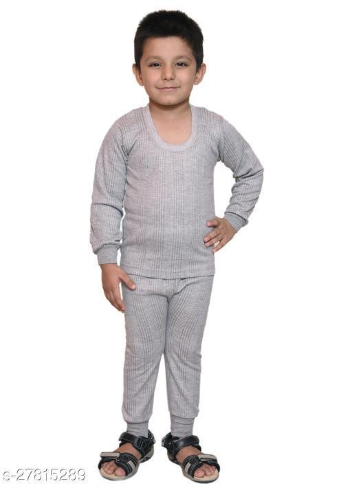 BODYSENSE Light Grey Thermal Top & Pyjama Set for Boys & Girls ( Pack of 1 Set )
