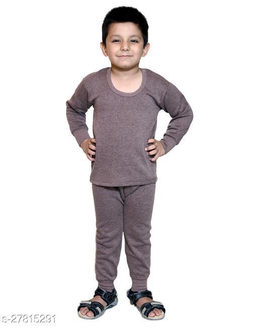 BODYSENSE Brown Thermal Top & Pyjama Set for Boys & Girls ( Pack of 1 Set )