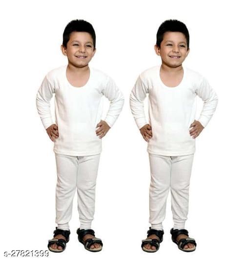 BODYSENSE White Thermal Top & Pyjama Set for Boys & Girls ( Pack of 2 Set )