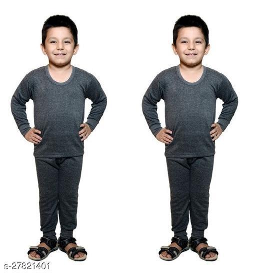 BODYSENSE  Dark Grey Thermal Top & Pyjama Set for Boys & Girls ( Pack of 2 Set )