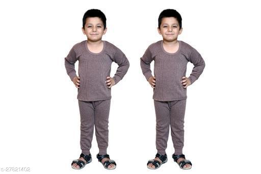BODYSENSE Brown Thermal Top & Pyjama Set for Boys & Girls ( Pack of 2 Set )
