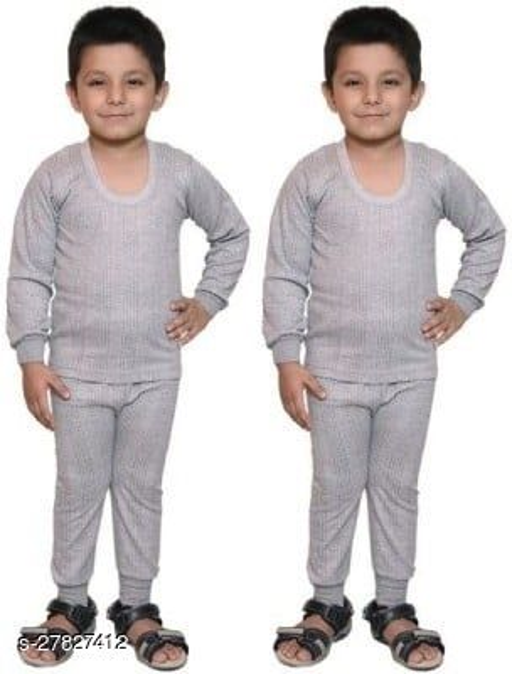 BODYSENSE Light Grey Thermal Top & Pyjama Set for Boys & Girls ( Pack of 2 Set )
