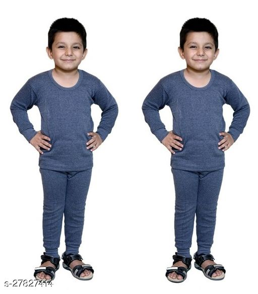BODYSENSE Blue Thermal Top & Pyjama Set for Boys & Girls ( Pack of 2 Set )