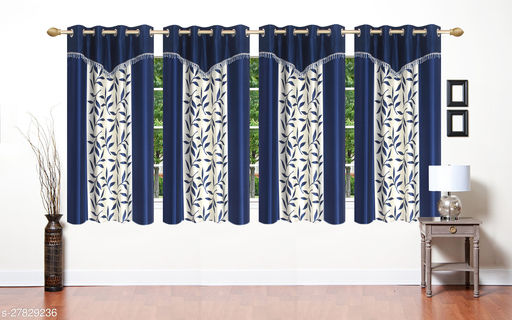 Premium Quality Blue Frill Fancy Window 5 Feet Polyester Eyelet Curtains Pack of 4