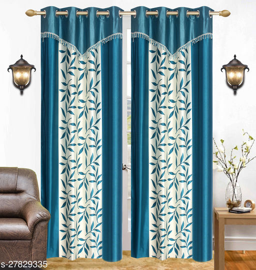 Premium Quality Aqua Frill Fancy Door 7 Feet Polyester Eyelet Curtains Pack of 2