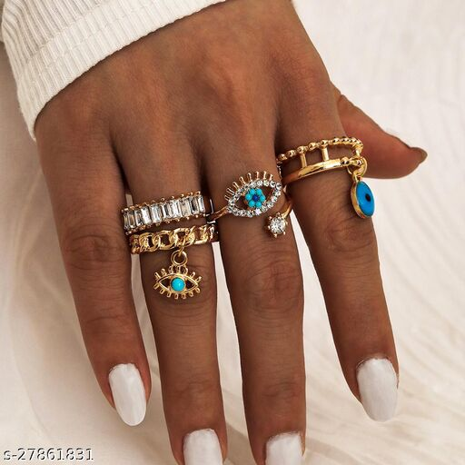 Arzonai 4Pcs/Set Gold Color Evil Eye Rings For Women Vintage Boho Crystal Knuckle Ring Set Female Party Jewelry Gift