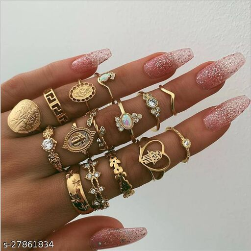 Arzonai Vintage Coin Knuckle Cross Rings, Good Luck Knuckle Gold Gemstone Ring Set for Women Girls (15 Pieces)