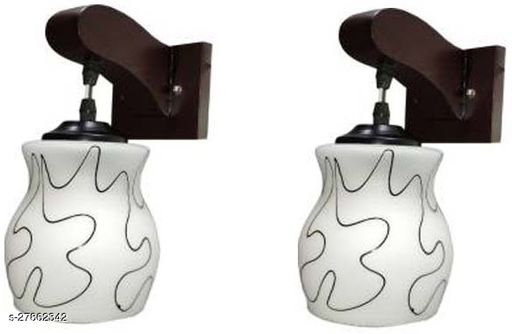 Afast Colorful Sconce Wall Lamp/Light, Night Lamp With Stylish Wooden Fitting & Decorated Glass Shade (Set Of 2) Power Saver