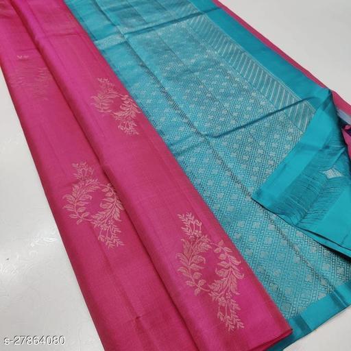 JUST ARV Pink Color Lichi Fabric Printed Saree (Vel Pink)
