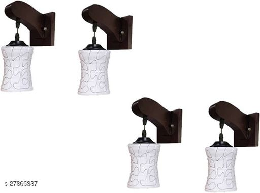 Afast Colorful Sconce Wall Lamp/Light, Night Lamp With Stylish Wooden Fitting & Decorated Glass Shade (Set Of 4) Power Saver