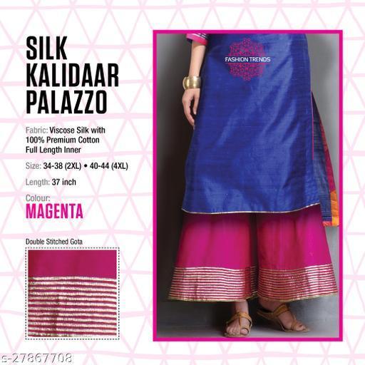 Fashion Trend Stylish Silk Kalidaar Magenta Women's Plazzos