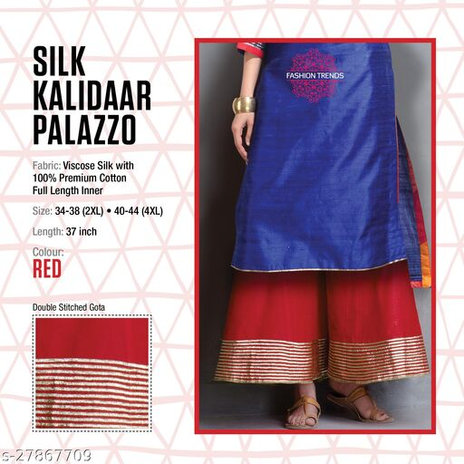 Fashion Trend Stylish Silk Kalidaar Red Women's Plazzos
