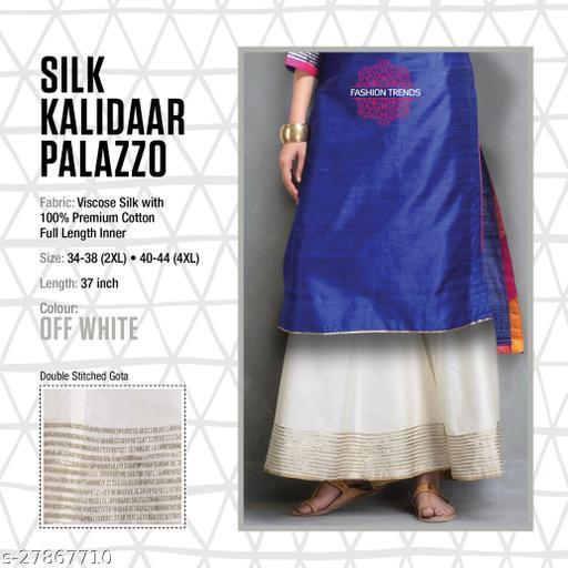 Fashion Trend Stylish Silk Kalidaar Off White Women's Plazzos