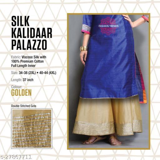 Fashion Trend Stylish Silk Kalidaar Golden Women's Plazzos
