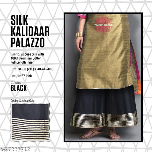 Fashion Trend Stylish Silk Kalidaar Black Women's Plazzos