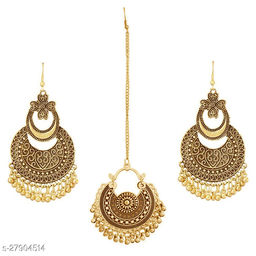 Fancy Designer chandbali Maang tikka earrings set