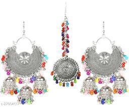 Fancy designer Bahubali chandbali  Jhumki earrings set