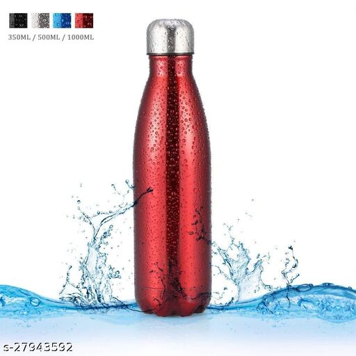 Stainless Steel Double Wall Cola Water Bottle Bottle Hot & Cold Upto 4 Hours- Red- 500 ml