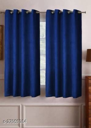 Polyester Window Curtain (Pack Of 1)  (Solid, Navy Blue) 5ft