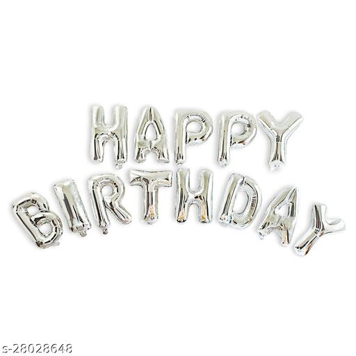 """NHR""""Happy Birthday"""" Silver Foil Letters Toy Balloons (Pack of 13 Letters)"""