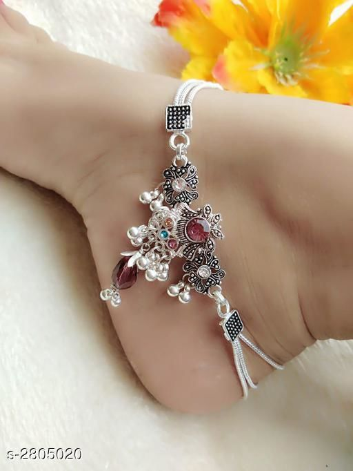 Women's Alloy Oxidised Silver Anklets & Toe Rings