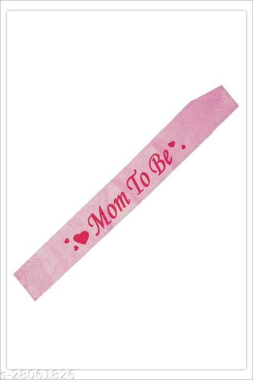 Sash Mom to Be Pink Baby Shower Decorations Gifts for Boy or Girl Maternity Pregnancy Sash for Newborn Party Celebration Supplies Pink Glitter Satin with PINK Lettering (Party Monkey)