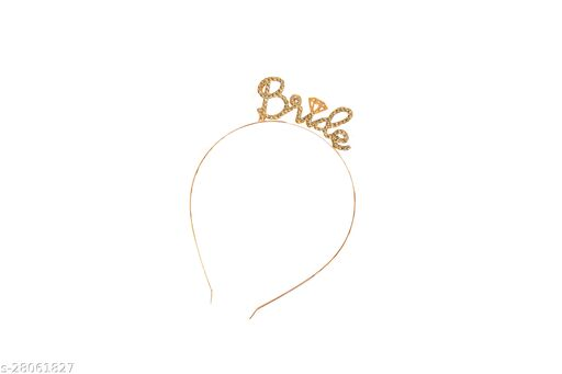 Bride Hairband with Crystal Stone Bachelorette metal hairband with diamond crystal studded Bride Letters for bachelorette party bridal shower brides maid Gold (Party Monkey)