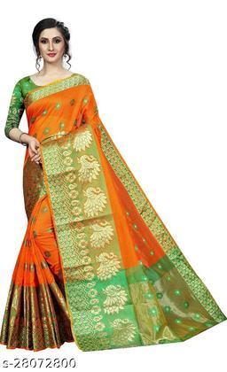 RB lifestyle Attractive Monika Saree with running blouse Piece (Orange)