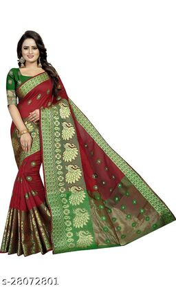 RB lifestyle Attractive Monika Saree with running blouse Piece (Red)